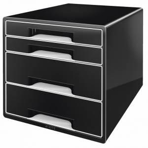 Skuffekabinet Desk Cube Leitz m/ 4 skuffer - SORT/HVID