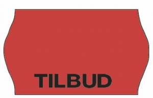 Etiket Meto 32x19mm fluor. rød permanent lim 2 TILBUD