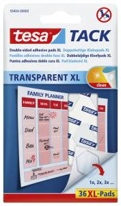 Brikker tesa Tack XL dobbeltklæbende transp. 36stk/pak