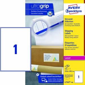 Avery (L7167-100) adresseetiket m/QuickPEEL™ & Ultragrip 199,6x289,1mm - 100x1stk