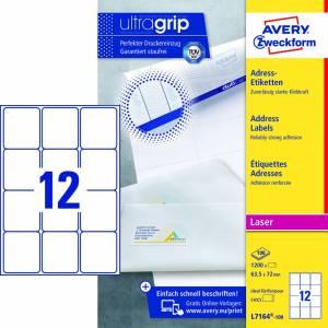 Avery (L7164-100) adresseetiket m/QuickPEEL™ & Ultragrip 63,5x72mm - 100x12stk