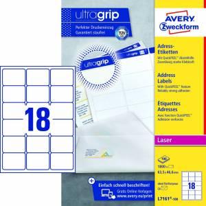 Avery (L7161-100) adresseetiket m/QuickPEEL™ & Ultragrip 63,5x46,6mm - 100x18stk