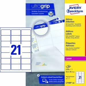 Avery (L7160-100) adresseetiket m/QuickPEEL™ & Ultragrip 63,5x38,1mm - 100x21stk