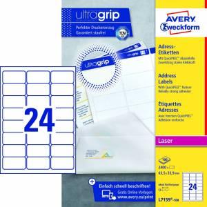 Avery (L7159-100) adresseetiket m/QuickPEEL™ & Ultragrip 63,5x33,9mm - 100x24stk