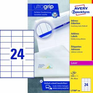 Avery (L7180-100) adresseetiket med Ultragrip standard 70x36mm (2400)