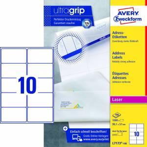 Avery (L7173-100) adresseetiket m/ QuickPEEL & Ultragrip 99,1x57mm - 100x10stk