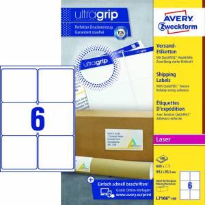 Avery (L7166-100) adresseetiket m/QuickPEEL™ & Ultragrip 99,1x93,1mm - 100x6stk