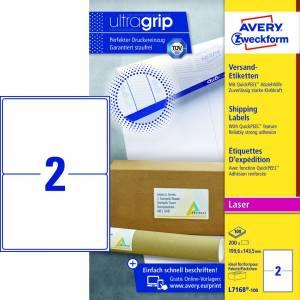 Avery (L7168-100) adresseetiket m/QuickPEEL™ & Ultragrip 199,6x143,5mm - 100x2stk