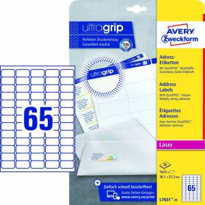 Avery (L7651-25) adresseetiket m/ QuickPEEL & Ultragrip 38,1x21,2mm (1625)