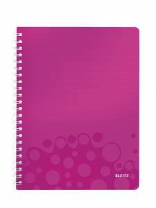 Notesblok PP m/ lomme & lineal Leitz WOW A4 linieret 80ark - Pink