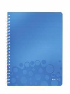 Notesblok PP m/ lomme & lineal Leitz WOW A4 linieret 80ark - Blå