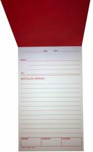 Bestillingssedler m/rødt tryk 11x19,5cm 100bl RK15