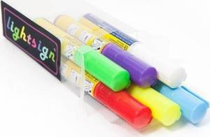 Pen t/lysskilte 10mm ass. flourserende 6st/sæt