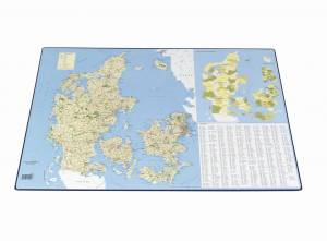 Skriveunderlag Danmarkskort m. postnumre 40x65cm 4155