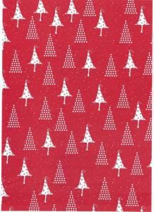 Gavepapir rød m/hvide juletræer 65g  - 55cmx150m