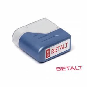 Stempel Deskmate BETALT - rød tekst