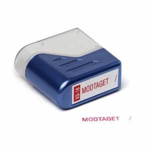 Stempel Deskmate MODTAGET - rød tekst