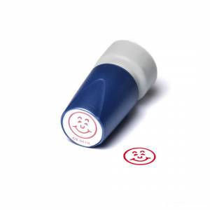 Stempel Deskmate Glad ansigt - rød tekst