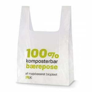 Maistic Bærepose bioplast 18my 300/75x550mm Hvid - 500 stk/ka
