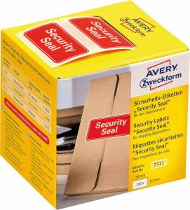 Avery Plomberingsetiket Security Seal 38x20mm rød - 200stk
