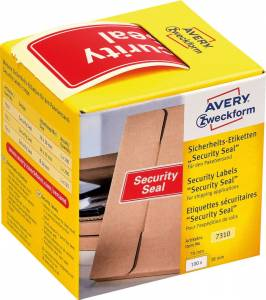 Avery Plomberingsetiket Security Seal 78x38mm rød - 100stk