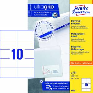 Avery Universaletiketter med Ultragrip 3425 perm. 105x57mm 1000stk/pak