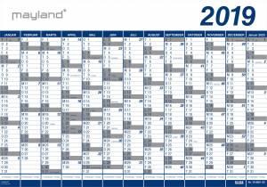 MAYLAND Kæmpekalender (2019)!! PLAST 100x70cm, 1x13mdr. (10stk)