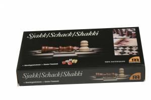 Tre i en - skak - dam - backgammon 29x16x4,5cm