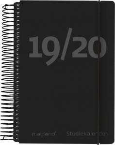 Mayland Mini studiekalender 2019/20, 8x13cm 1dag/side - Sort fiberpap