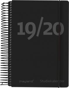 Mayland Stor studiekalender 2019/20, 12x17cm 1dag/side - sort fiberpap