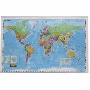 Plakat verdenskort lamineret 1370x890mm