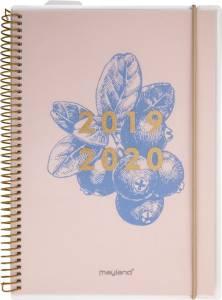 Mayland Stor studiekalender 2019/20 11,7x17cm 1dag/side - Blåbær
