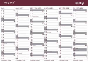 Kartonkalender halvårs 2019/20  A4 30x21cm