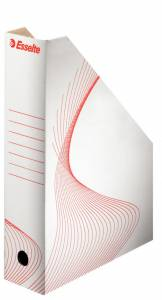 Tidsskriftkassette pap Esselte A4 B: 80mm - hvid m/rødt tryk