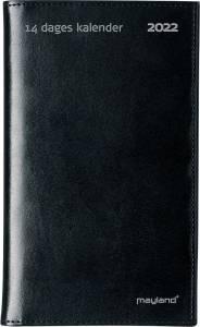 Mayland 14-dages kalender 2022, 9x17cm sort kunstlæder