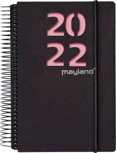 Mayland Dagkalender 2022 m/spiral 1dag/side 12x17cm - Sort m/2 farver