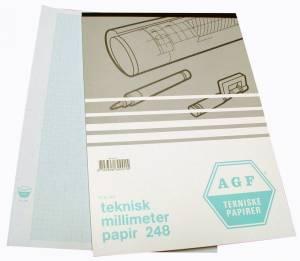 Millimeterblok 80g 1mm blå A4 blok m. 50 ark 268