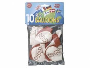 Balloner runde med flag 10stk/pak