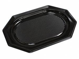 Cateringfad A-PET sort plast 35x25cm oval lille - 10x10stk/kar