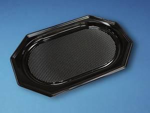 Cateringfad A-PET sort plast 45x30cm oval mellem- 10x10stk/kar