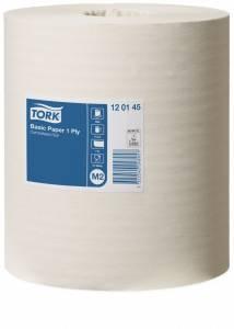 Aftørringspapir Tork B. M2 1-lags hvid Ø19cm 21,5cmx300m - 6rl