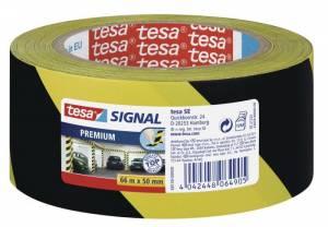 Tape tesa advarselstape PVC 48mmx66m gul/sort 58130