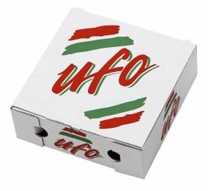 Pizzaæske 26x26x9cm UFO neutralt tryk - 100stk/pak