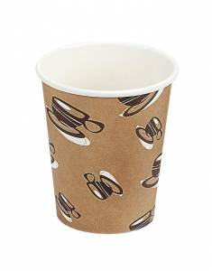 Kaffebæger Hot Cup Single wall pap brun 8oz (25cl) - 1000 stk