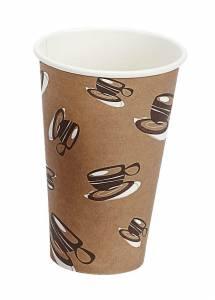 Kaffebæger Hot Cup Single wall pap brun 16oz (45cl) - 1000 stk