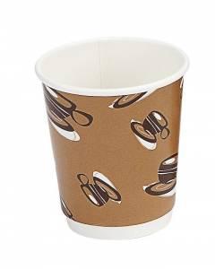 Kaffebæger Hot Cup Double wall pap brun 8oz (25cl) - 500 stk