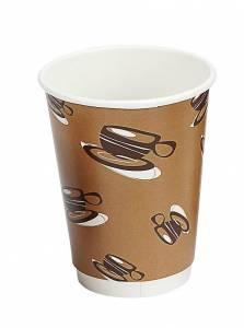 Kaffebæger Hot Cup Double wall pap brun 12oz (34cl) - 500 stk
