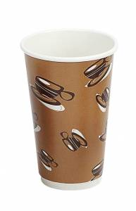 Kaffebæger Hot Cup Double wall pap brun 16oz (45cl) - 500 stk