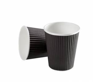 Kaffebæger Espresso Black line Ripple wall pap Sort 4oz (12cl) - 960stk