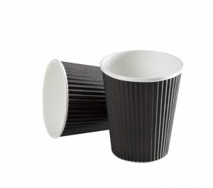 Kaffebæger Black line Ripple wall pap Sort 8oz (25cl) - 875stk